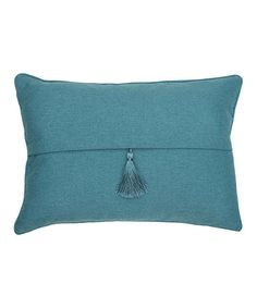 Like the simple, clean lines and the subtlety of a matching tassel. Baltic Blue Barbados Throw Pillow by THRO #zulilyfinds