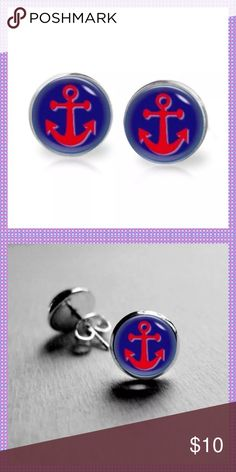 🆕Red Anchor Stud Pierced Earrings🆕 ⚓️🆕⚓️Adorable Red Anchor with Navy Background and Clear Cabochon, Surgical Stainless Steel Posts, Butterfly Backs⚓️🆕⚓️PRICE IS FIRM⚓️🆕⚓️ Boutique Jewelry Earrings