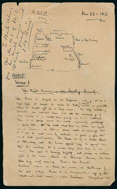 Peter Pan Original Manuscript by JM Barrie Peter Pan, Maude Adams, Roman, Jm Barrie, Sheet Music, Scene, The Originals, Digital, Student