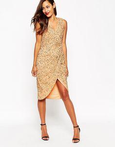 Image 1 ofASOS Twist Front Mesh Sequin Midi Dress