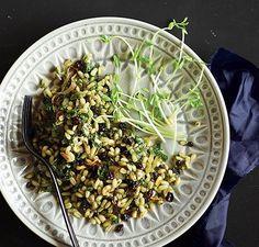 Lemon Grain Salad with Kale Pesto made in the Vitamix