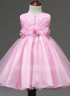 Princesa Comprimento médio Vestidos de Menina das Flores - Combinação de algodão Sem magas Decote redondo com fecho de correr…