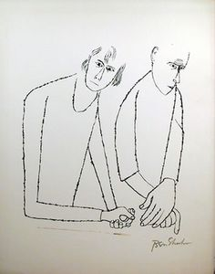 Ben Shahn Lithograph: To the parents one had to hurt.