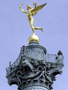 In the Place de la Bastille atop the July Column, stands the Genie of Liberty