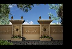 """"""" Villa Khaled """" Exterior design in Doha - Qatar on Behance House Front Wall Design, House Fence Design, Exterior Wall Design, Door Gate Design, Village House Design, Unique House Design, House Paint Exterior, Dream House Exterior, Interior Exterior"""