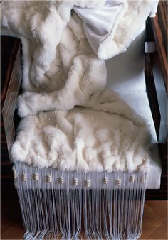 Sumptuous fur throw interspersed with crystal pearls and finished with a chainette and crystal pearl fringe Dimensions: 3400 mm (L) x 500 mm (W) Fur Throw, Throw Cushions, Furniture Decor, 3 D, Bedroom Decor, Quilts, Pearls, My Style, Interior