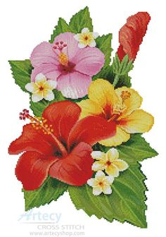 Hibiscus Arrangement 3 - Cross Stitch Chart - Click Image to Close