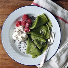 Matcha Crêpes with Whipped Cream, Berries, and Cacao Nibs | Turntable Kitchen