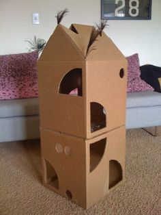 DIY cat condo. Great for kitties who love to hide and climb!