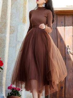 Look Fashion, Skirt Fashion, Fashion Dresses, Maxi Dresses, Tulle Skirts, Sleeve Dresses, Jersey Dresses, Dress Sleeves, Korean Fashion Dress