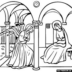 free coloring page of Fra Angelico painting - The Annunciation. You be the master painter! Color this famous painting and many more! You can save your colored pictures, print them and send them to family and friends! Online Coloring Pages, Coloring Book Pages, Coloring Pages For Kids, Kids Colouring, Fra Angelico, Illustration Photo, Illustrations, Digital Drawing, Famous Art