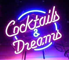 """COCKTAILS AND DREAMS Real Glass Neon Light Sign Home Beer Bar Pub Recreation Room Game Room Windows Garage Wall store Sign (17""""x14"""" Large): Amazon.co.uk: Kitchen & Home"""