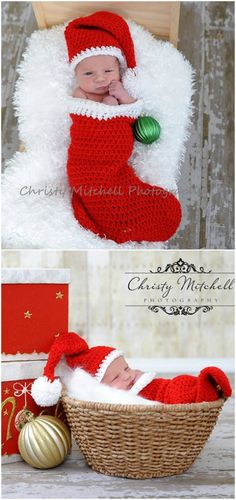 You will love these Crocheted Christmas Outfits for babies and we have something for everyone. From Santa to Mrs. Clause, you'll love these ideas. Crochet Santa Hat, Crochet Christmas Hats, Crochet Tree, Crochet Baby Cocoon, Baby Girl Crochet, Crochet Baby Clothes, Newborn Crochet, Plaid Christmas, Christmas Outfits