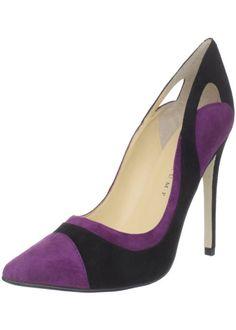 Different Designed Purple Black Color Block Heel Shoes