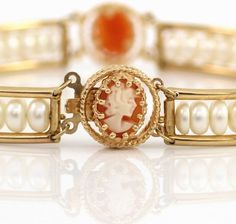 """Solid 14K Yellow Gold Pearl Lady Face Cameo Bracelet 7"""" #Tennis"""