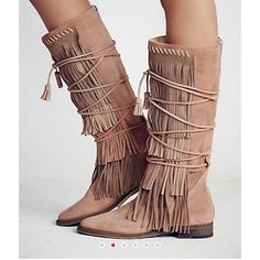 FREE P Sensational SONGBIRD FRINGE BOOTS❗️ THESE BOOTS are KNOCKOUTS. Beautiful Suede with Fringe Everywhere. Back Zipper for easy on and off! Versatile and ABSOLUTELY SEXY Boot! This Boot comes in Full Size only but fits a 7.5. Cannot be shipped in the FP Box as it is 30 in L and 24 in W but will be bubble wrapped in a Priority Mail Box. ❎No Trades ✳️Pricing is Firm but comes with Retail Bonus Gifts. Free People Shoes Lace Up Boots