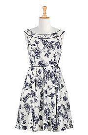 Floral print crepe piped trim dress