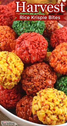 Fall Harvest Rice Krispie Bites - Yummy, bite-sized balls of crunchy, marshmallow-y delight in beautiful Fall Colors are a great Fall or Thanksgiving treat. This is a Thanksgiving dessert that is easy to make and even better to eat. These colorful and festive Rice Krispie Treats are great for Fall potluck, a family dinner or a fun Thanksgiving dessert. Pin this Fall Treat for later and follow us for more fun Thanksgiving Food Ideas. Thanksgiving Treats, Fall Treats, Fall Food, Winter Food, Homemade Rice Krispies Treats, Fall Harvest, Autumn, Food Scale, Winter Recipes