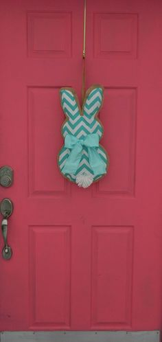 Chevron Burlap Bunny Wall- Door Hanging - 3 Color Options