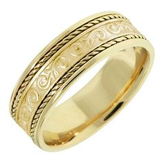 14K Gold Floral Paisley Womens Comfort Fit Wedding Band 7mm Size8 >>> You can get more details by clicking on the image. This Amazon pins is an affiliate link to Amazon.