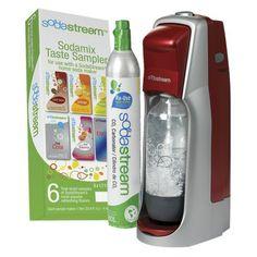 Fountain Jet Soda Maker Starter Kit - Red. Make sparkling water or soda in seconds!