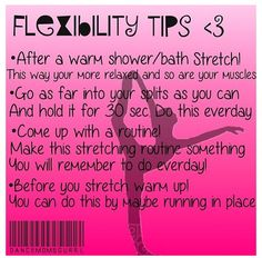 Simple Flexibility Tips! Flexibility Tips!Flexibility Tips! Flexibility Tips, Flexibility Dance, Gymnastics Flexibility, Flexibility Workout, Gymnastics Stretches, Increase Flexibility, Cheerleading Workouts, Cheer Workouts, Gymnastics Workout