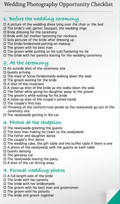 Wedding Photography Cheat Sheet - Best Cheat Sheets