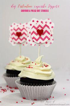 DIY Valentine Cupcake Topper | Kim Byers, TheCelebrationShoppe.com