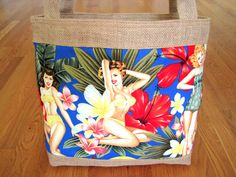 Large Tote Bag Hawaiian Aloha Pin Up Girls Blue Red Hibiscus Pink Yellow Plumerias 100% COTTON Beige BURLAP Retro Birthday Beach REVERSIBLE with Pocket! ~ Available on www.MaliakeiBags.com
