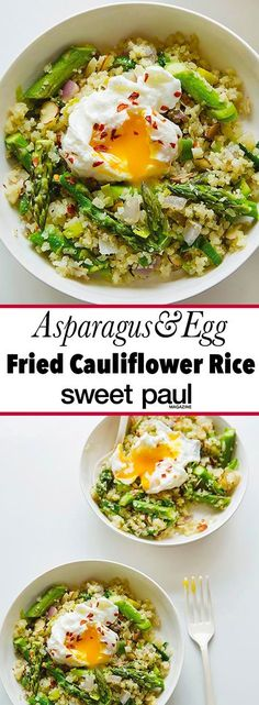 Fried cauliflower rice with asparagus & egg Sweet Paul Magazine – Bloğ Califlower Rice, Cauliflower Fried Rice, Cauliflower Recipes, Cauli Rice, Rice Recipes, Cooking Recipes, Healthy Recipes, Cooking Rice, Cooking Blogs