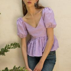 Long Live The Puff-Sleeve Styles We're *Adding To Cart* Now – It doesn't get more girly than a babydoll silhouette in purple gingham print. Team with ravaged denim and boots for an edgier spin. Teen Fashion Outfits, Stylish Outfits, Fashion Top, Camisa Formal, Designs For Dresses, Crop Top Outfits, Trendy Tops, Looks Style, Aesthetic Clothes