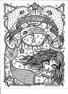 free colouring page via artist deborah muller of chubby mermaid designs