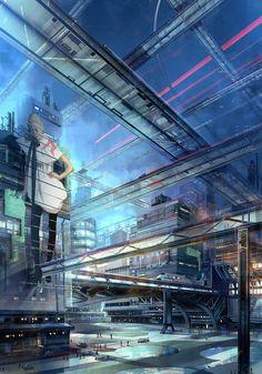 City Courtyard by Todd Keller, Future City, Cyberpunk, Sci-Fi, Cyber City  scenery reference?