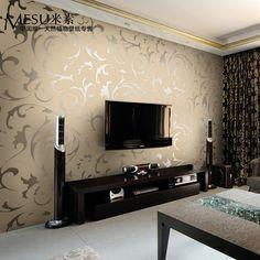 Design Living Room Wallpaper, Modern Wallpaper Designs, Living Room Tv Unit Designs, Home Wallpaper, Tv Wall Decor, Wall Decor Pictures, Wall Tv, Living Room Crafts, Living Room Decor