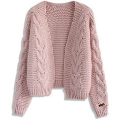 Chicwish Sun Daze Cable Knit Cardigan in Pink (1.435 CZK) ❤ liked on Polyvore featuring tops, cardigans, pink, pink top, open front cardigan, chunky cable knit cardigan, cable cardigan and red open front cardigan