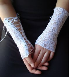 Sexy White Victorian Fingerless Gloves Burlesque Dancer Lolita Lace Clubbing Gloves Cosplay Corset Cuffs. $55.00, via Etsy.