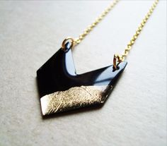 *** Please note: this necklace will ship within 3 to 5 working days, once it has been handcrafted just for you, thank you! *** Handcrafted from upcycled vinyl record, this gold dipped minimalist chevr