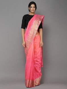Peach-Pink Ombre Handwoven Dupion saree
