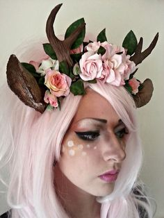 Very pretty faun Satyr Costume, Deer Costume, Diy Costumes, Cosplay Costumes, Halloween Costumes, Halloween Ideas, Cosplay Makeup, Costume Makeup, Maquillage Halloween