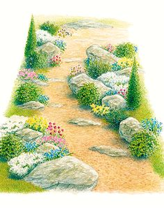 Design a Rock Haven - winding path along side of house-instead of a winding path how about a dry creek bed!