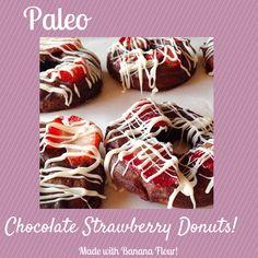 Vegan Chocolate Strawberry Donuts made with banana flour.  Paleo and #grain-free.