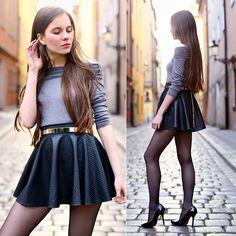 Ariadna Majewska - Grey Shoulder Off Top, Black Leather Skirt, Gold Metal Belt- black stilettos - Black & grey Cute Skirt Outfits, Cute Skirts, Mini Skirts, Leder Outfits, Model Legs, Black Leather Skirts, Hipster Girls, Black Stockings, Alternative Outfits