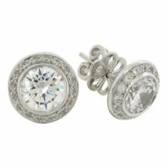 Silverörhänge/Stud 2ct + 14 diamantsimulanter