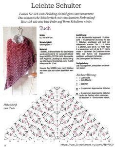 Poncho Crochet, Crochet Shawl Diagram, Crochet Stitches Chart, Crochet Wrap Pattern, Crochet Shawls And Wraps, Crochet Scarves, Crochet Motif, Crochet Lace, Crochet Designs