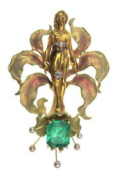 ART NOUVEAU WOMAN ENAMEL FLOWER 7.12CT EMERALD DIAMOND PEARL PIN GIA c1910