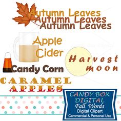 Fall Autumn Clipart by CandyBoxDigital. Apple cider, caramel apples, harvest moon, candy corn, autumn leaves. Great clip art word art for digital scrapbooks and journals, blogs and websites, graphic designs, invitations, and all kinds of paper craft applications. At our Etsy shop.