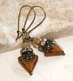 Triangle earrings Topaz earrings Geometric by CharmingLifeJewelry, $16.00
