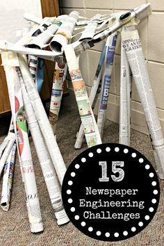 The Educators Spin On It Newspaper Engineering Challenges for Kids STEM at Home in the Classroom Engineering Challenges, Engineering Projects, Stem Challenges, Stem Projects, Science Projects, Steam Activities, Science Activities, Science Experiments, Teambuilding Activities