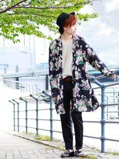 【Floral Shirt フローラルシャツ】 花柄のロング丈シャツ(近日発売) 柄物が欲しくて、