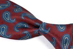 """HILDITCH & KEY Maroon Large Paisley Woven 100% Silk Mens Tie - 3.50"""" #HilditchKey #NeckTie"""